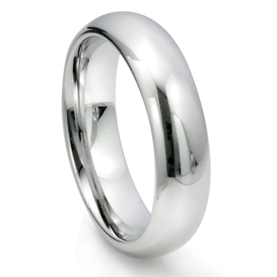 White Tungsten Carbide 6MM Plain Dome Wedding Ring P tungsten carbide wedding rings Home Men s Tungsten Carbide Rings Loading zoom