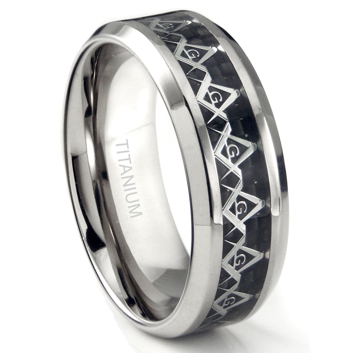 Titanium 8MM Masonic Symbol Inlay over Black Carbon Fiber Inlay Wedding Band Ring P carbon fiber wedding ring Loading zoom