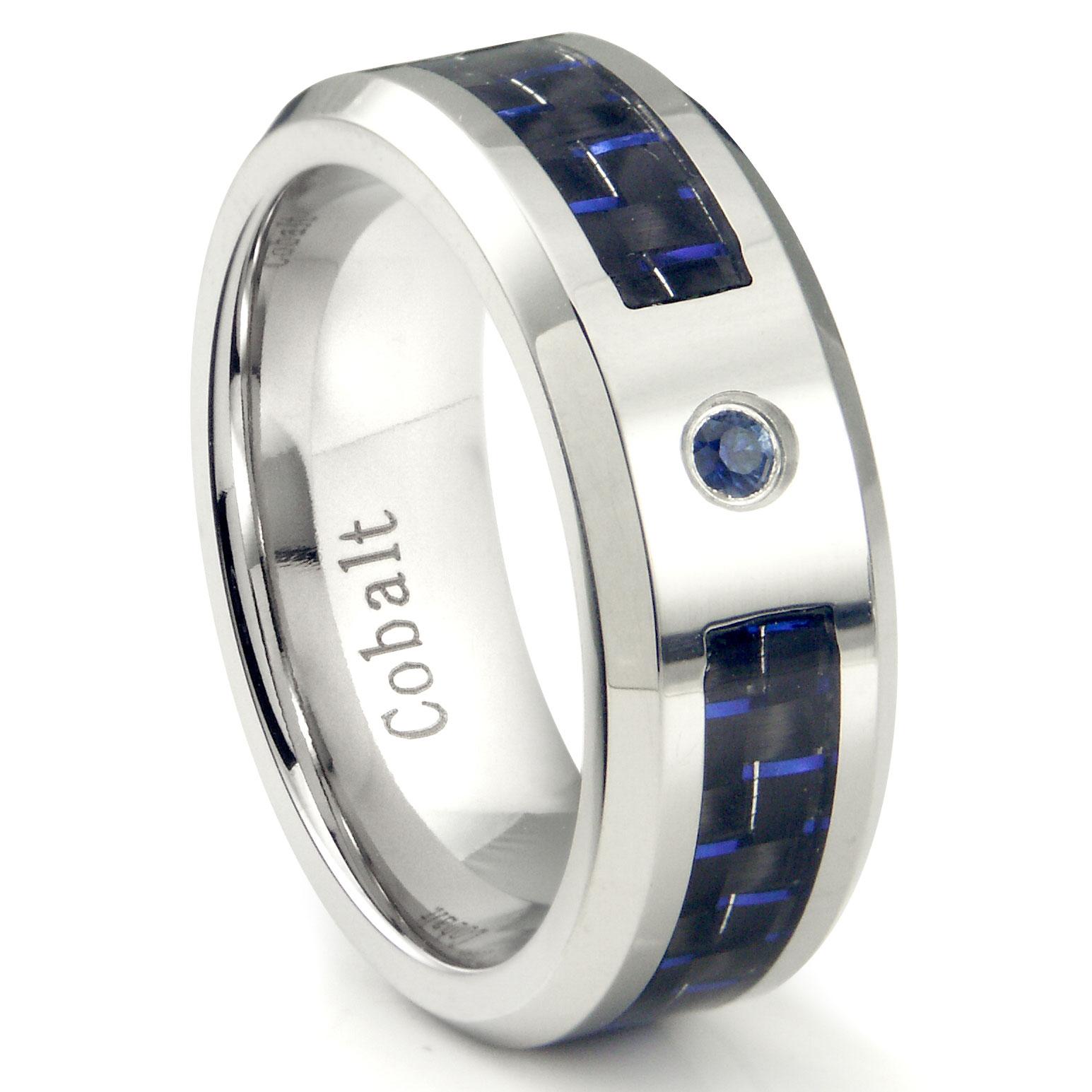 Cobalt Chrome 8MM Blue Sapphire Blue Carbon Fiber Inlay Wedding Band Ring P blue wedding rings Loading zoom