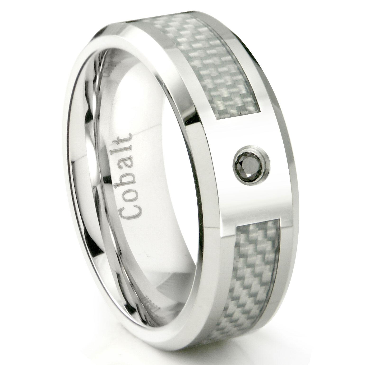 Cobalt Chrome 8MM Black Diamond White Carbon Fiber Inlay Wedding Band Ring P carbon fiber wedding bands Loading zoom