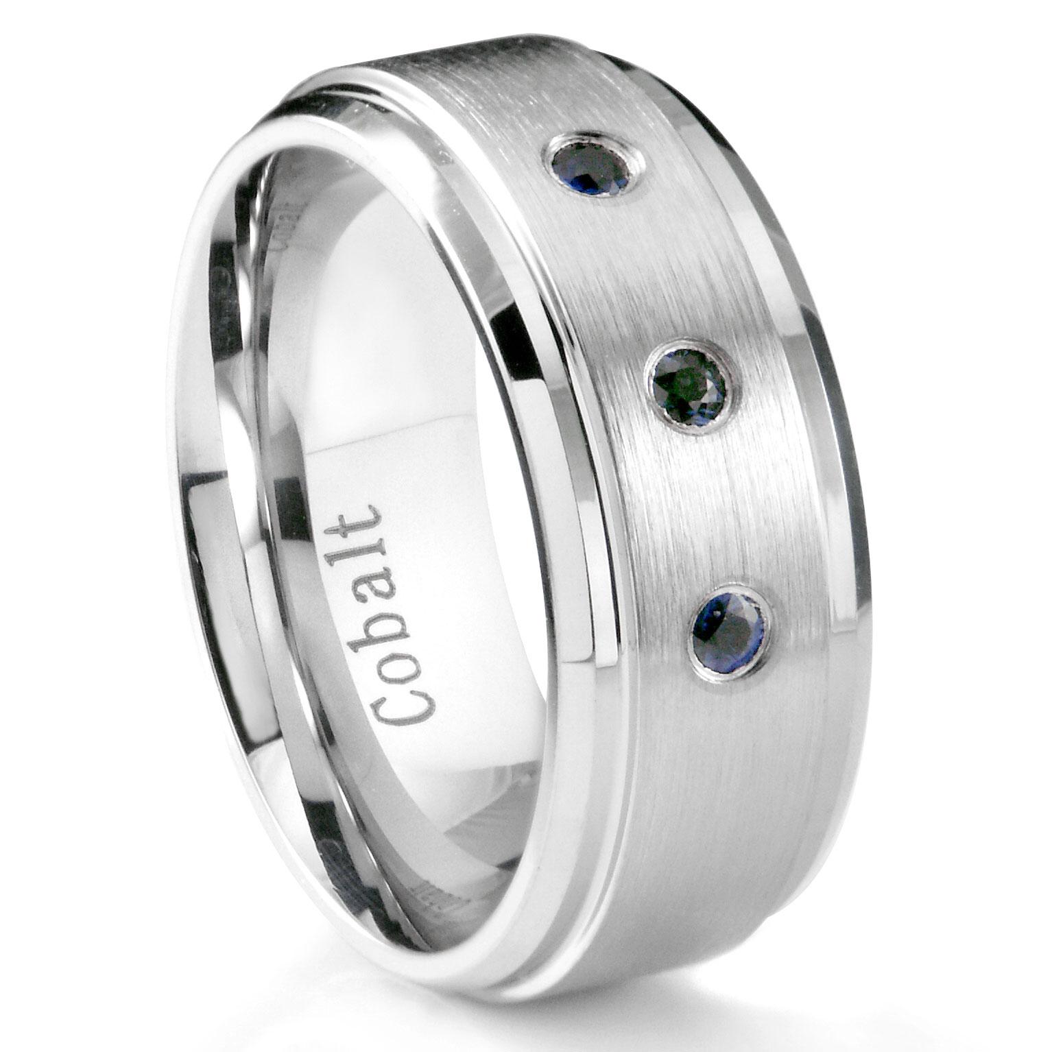 Cobalt Chrome 8MM 3 Blue Sapphire Wedding Band Ring w Stepped Edges P sapphire wedding band Loading zoom