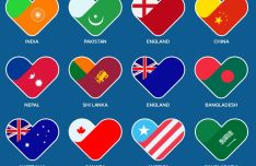 12 Heart Flag Icons PSD