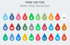 Water Drop Social Media Icon Vector