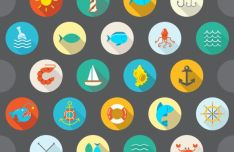 12 Flat Circular Sea Icons Vector