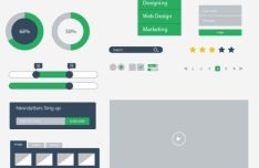 Minimal Flat UI Kit PSD (Dark & Green)