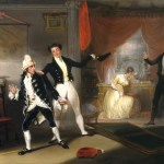 A painting by William Dunlap of a scene from The School for Scandal, by Richard Brinsley Sheridan.  Reproduced courtesy of the Harvard Theatre Collection.