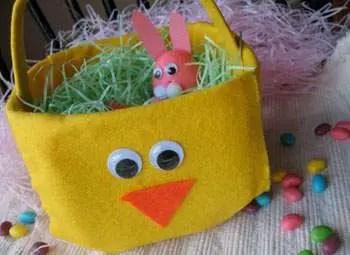 Como hacer una Canasta de pascua infantil con fieltro