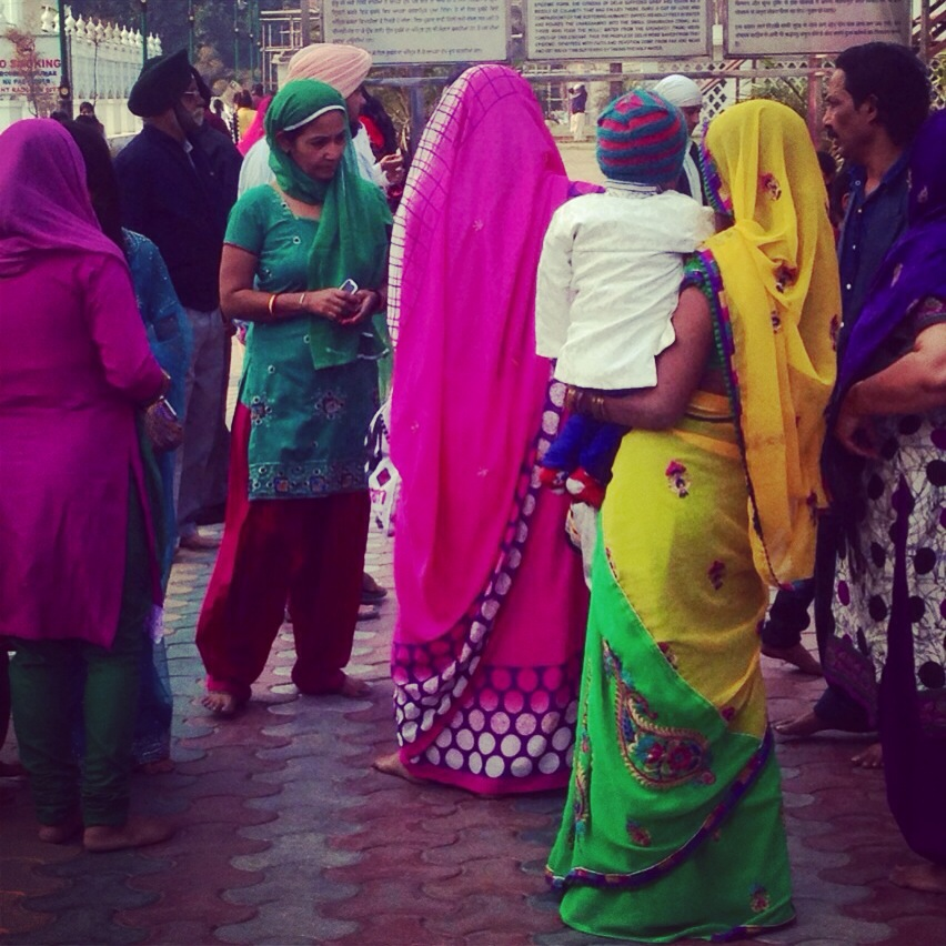 pink is the navy blue of india lady in sari