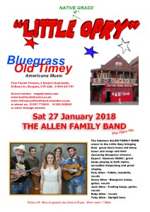 Little Opry Poster Sat 27 Jan 2018 THE ALLEN FAMILY BAND