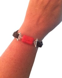 Dark Brown Coral Tube Bead / Brown Cord Combo braceletCotton Cord Bracelet Base with Coral Nugget Accent retouched