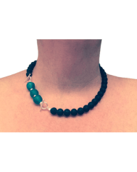 Turquoise Sea Glass / Black Lava Combo (Necklace)