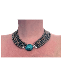 Stone Beads & Turquoise Nugget Necklace