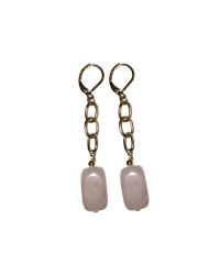 Tookey Unchained Rose Quartz Tube Earrings