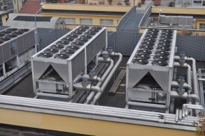 large commercial hvac system on roof of facility