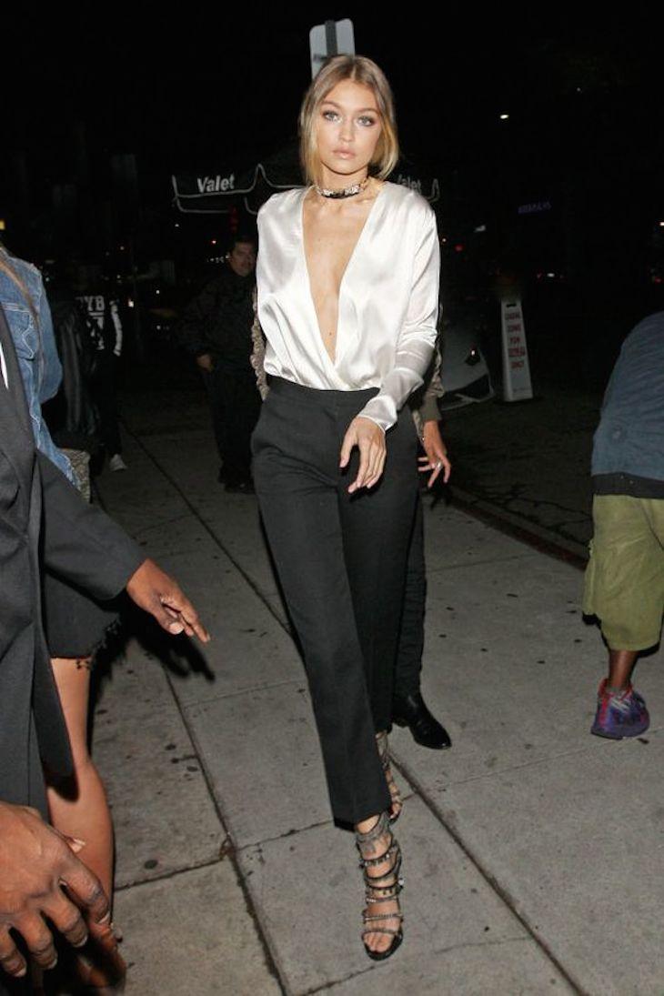 Gigi Hadid in silk outfit