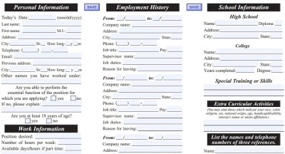 Port of Subs Job Application - Printable Employment PDF Forms