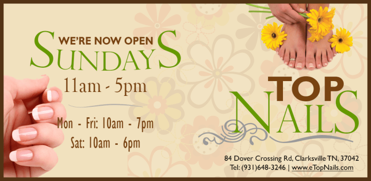 Top Nails - Clarksville, TN - nail spa salon open on Sunday.
