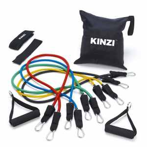 Kinzi Resistance Band Set with Door Anchor, Ankle Strap, Exercise Chart, and Resistance Band Carrying Case