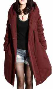 6. Mordenmiss Women's Cotton Coat Winter Trenchcoat Outerwear With Pockets