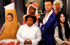 COMMUNITY -- Episode 403 -- Pictured: (l-r) Gillian Jacobs as Britta, Yvette Nicole Brown as Shirley, Donald Glover as Troy, Joel McHale as Jeff Winger, Alison Brie as Annie -- (Photo by: Vivian Zink/NBC)