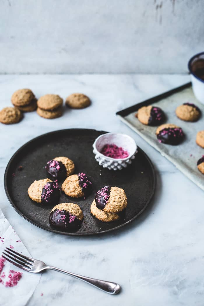 Chocolate-Dipped Peanut Butter Cookies with Pomegranate Salt {GF}
