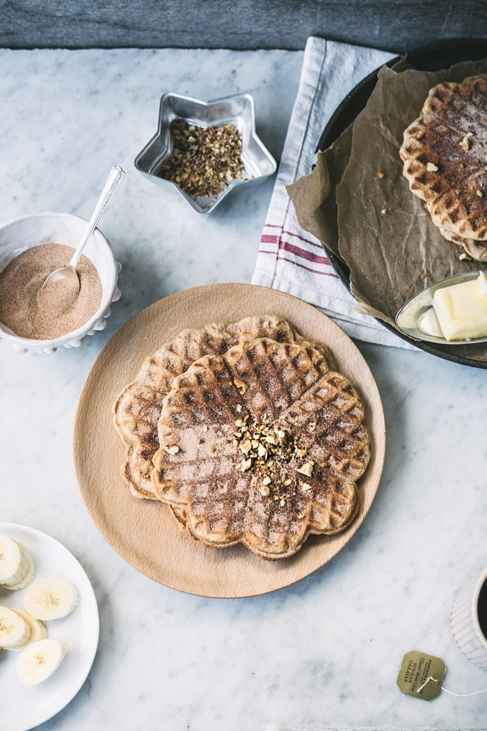 Whole Grain Banana Bread Waffles (with cinnamon-sugar)