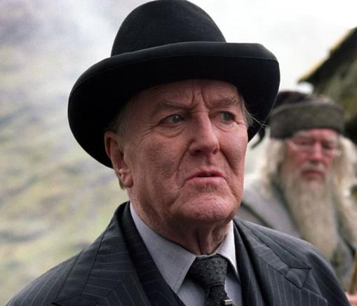 Minister of Magic Cornelius Fudge from the HARRY POTTER series, portrayed by Robert Hardy