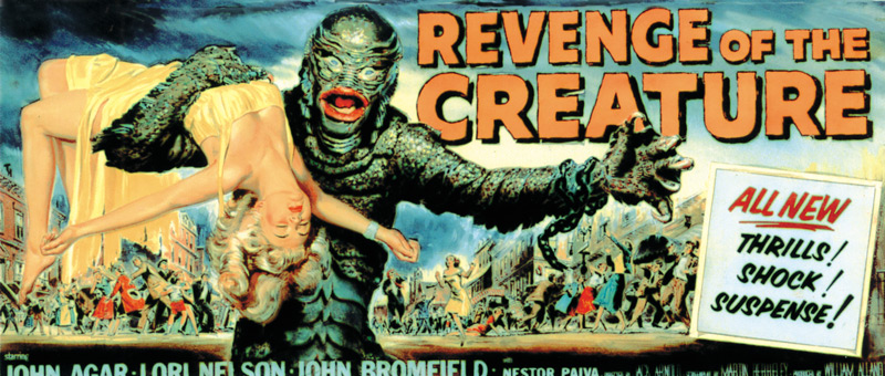 Reynold Brown, illustrator, Revenge of the Creature, 1955, gouache on board, illustration for motion picture billboard advertisement, Universal-International. Click to enlarge.