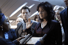 President Laura Roslin of the Twelve Colonies, portrayed by Mary McDonnell in the reimagined BATTLESTAR GALACTICA series.
