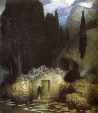 The Tomb of Böcklin, 1901–02, by Ferdinand Keller. Click to enlarge.