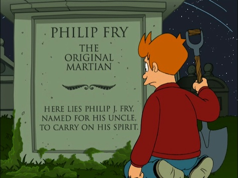 Philp Fry Futurama grave Luck of the Fryrish