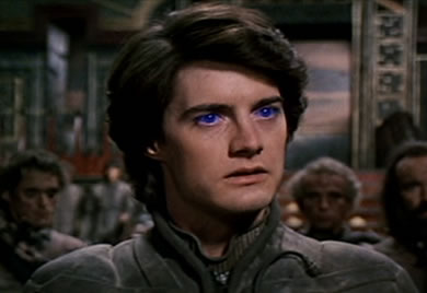 Duke/Emperor Paul Maud'dib 'Usul' Atreides, portrayed by Kyle McLachlan in David Lynch's (totally ridiculous and David Lynch-ian and ultimately kind of terrible but also awesome at the same time) 1984 film adaptation of Frank Herbert's DUNE book.