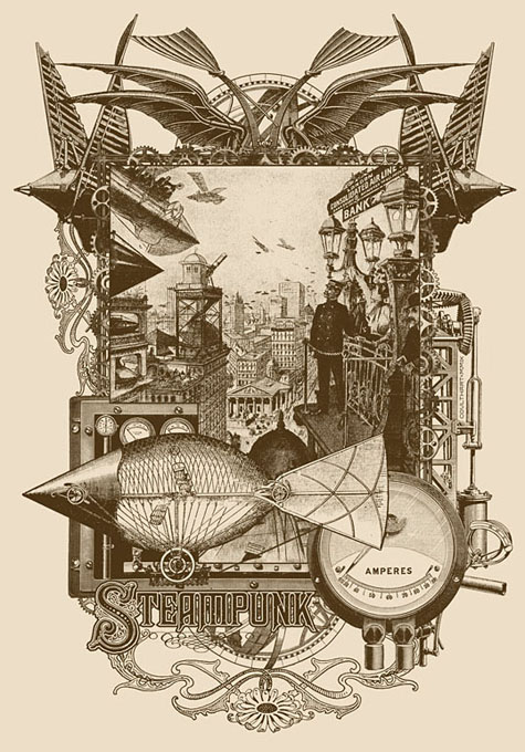 Life in Our New Century! A design for Modofly. The central picture is an old magazine illustration showing the flying machines of a future London. Click to enlarge.