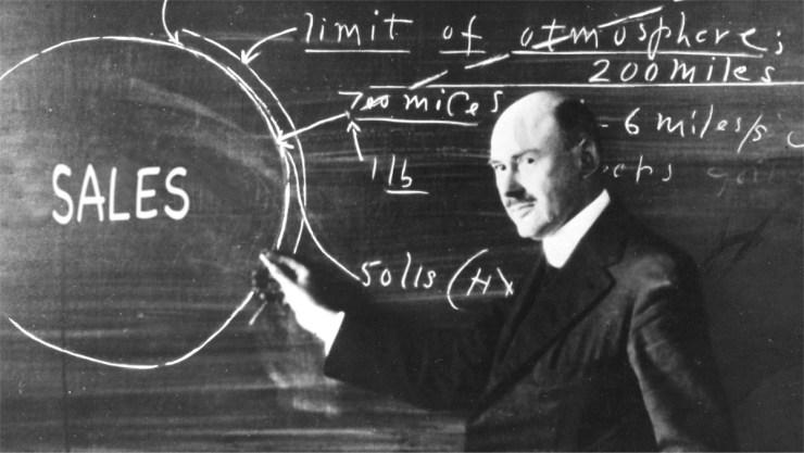Dr. Robert H. Goddard at a blackboard at Clark University in Worcester, Massachusetts, in 1924. Author: NASA.