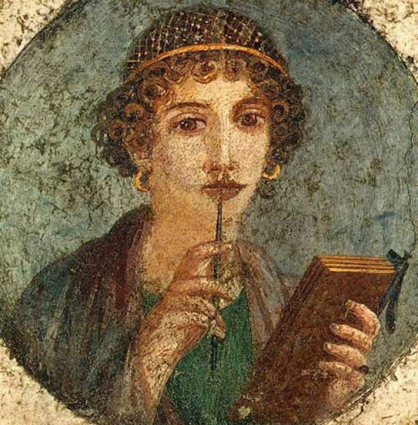 Fresco of a woman with writing implements, found in Pompeii.