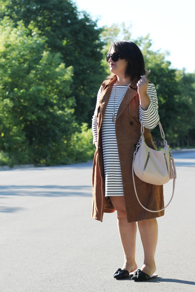 jcrew factory stripe dress, suede nordstrom trench vest