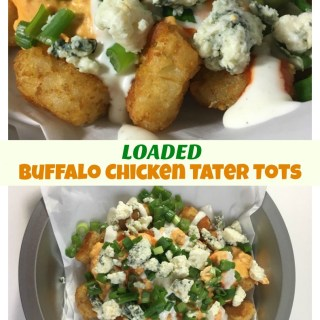 Loaded Buffalo Chicken Tater Tots for tailgate game day parties!