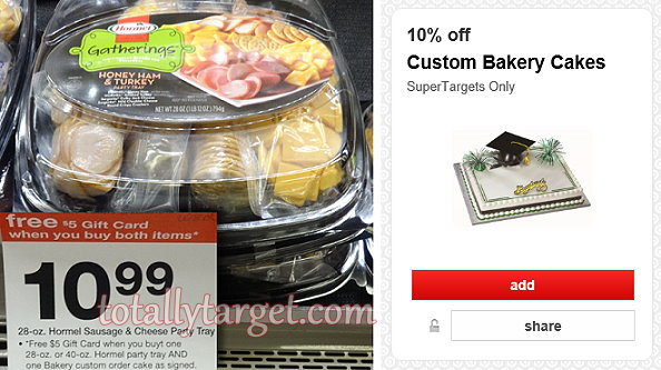 SuperTarget Get A FREE 5 Gift Card Wyb A Custom Bakery Cake A