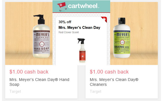 also to mention there are two 1 earning for mrs meyeru0027s cleaners u0026 dish soap and right now we have a 30 off cartwheel on the red clover