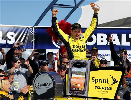 Todd Warshaw/Getty Images Matt Kenseth, driver of the #20 Dollar General Toyota, celebrates in Victory Lane after winning the NASCAR Sprint Cup Series Kobalt Tools 400 at Las Vegas Motor Speedway on March 10, 2013 in Las Vegas, Nevada.