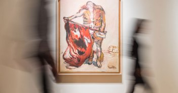 Georg Baselitz, Mit Roter Fahne (With Red Flag), 1965