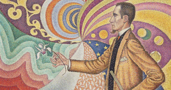 "Detalhe de ""Opus 217. Against the Enamel of a Background Rhythmic with Beats and Angles, Tones, and Tints"" (1890), de Paul Signac"