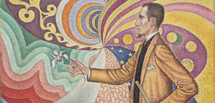 """Detalhe de """"Opus 217. Against the Enamel of a Background Rhythmic with Beats and Angles, Tones, and Tints"""" (1890), de Paul Signac"""