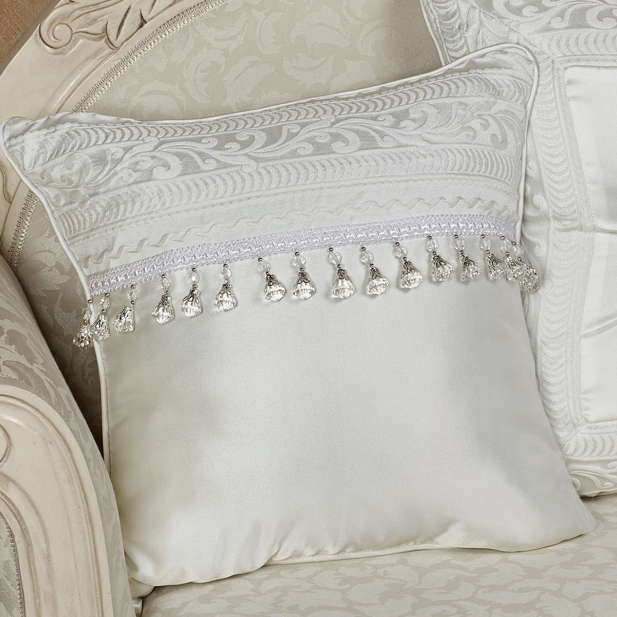 Genial Bianco Beaded Pillow Bianco Solid Decorative Pillows By J Queen New York Throw Pillows Cheap Furry Throw Pillows decor White Throw Pillows