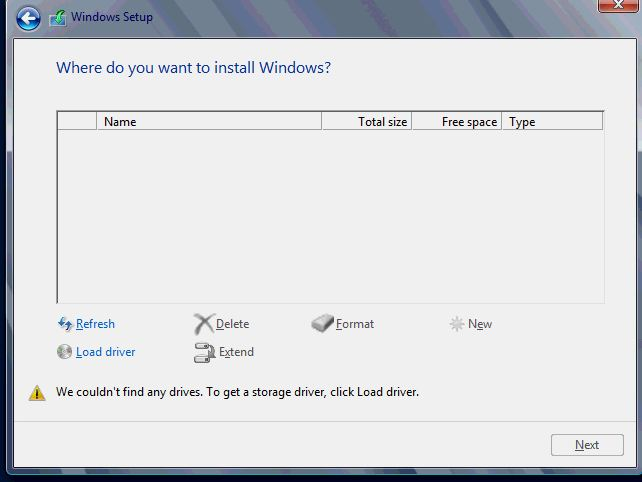 windows setup no drive
