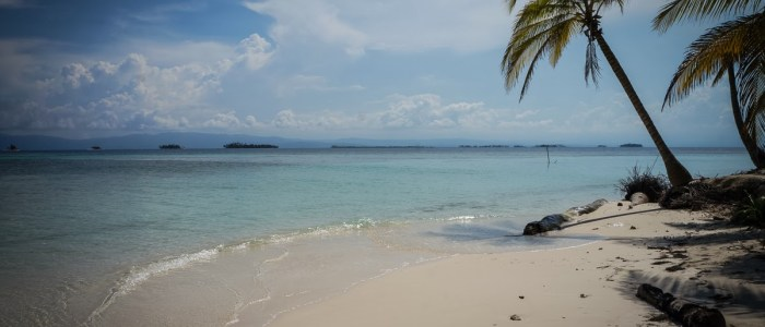 One of the many idylic views from the San Blas beaches...