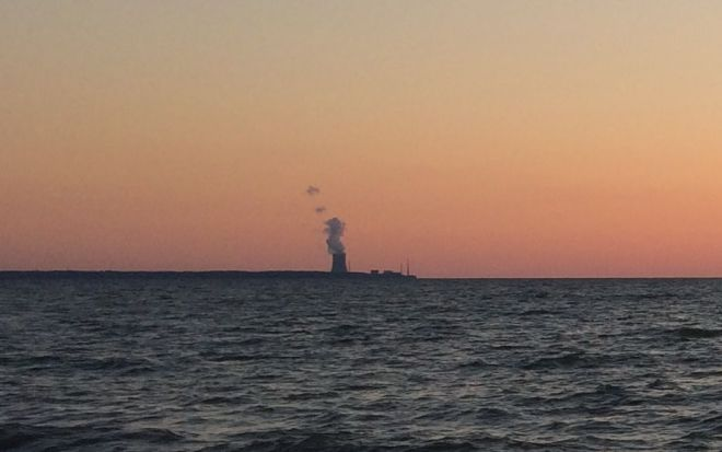 Nuclear reactor at sunset