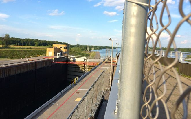 gates closed with two boats inside