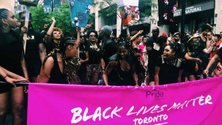 Black Lives Matters protesters at Toronto's Pride Parade on Sunday. (Courtesy/Black Lives Matter TO.)