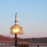"""North Korea says it conducted a test launch of a Pukguksong-2 guided missile on Feb. 12 and that the test was a """"complete success."""" This undated photo was released by North Korea's Korean Central News Agency (KCNA) in Pyongyang on Feb. 13, 2017. Credit: KCNA"""